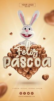 Bannière de pâques brésil réaliste 3d en forme de coeur avec du chocolat et du lapin