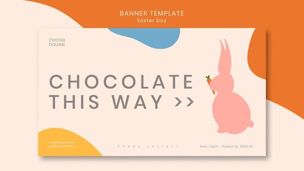 Bannière de pâques avec un lapin mignon