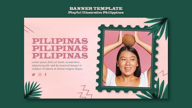 Bannière philippines illustrée ludique