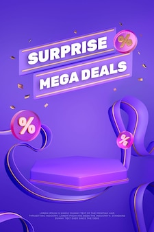 Bannière de podium d'affichage de produit violet coloré 3d
