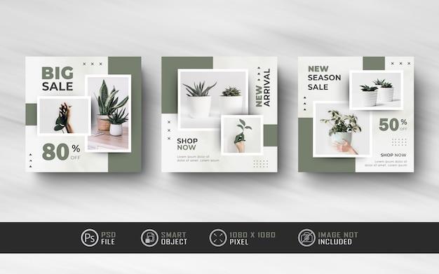 Bannière de post-vente de flux de médias sociaux instagram de l'armée verte minimaliste
