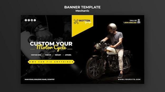 Bannière pour atelier de réparation de motos