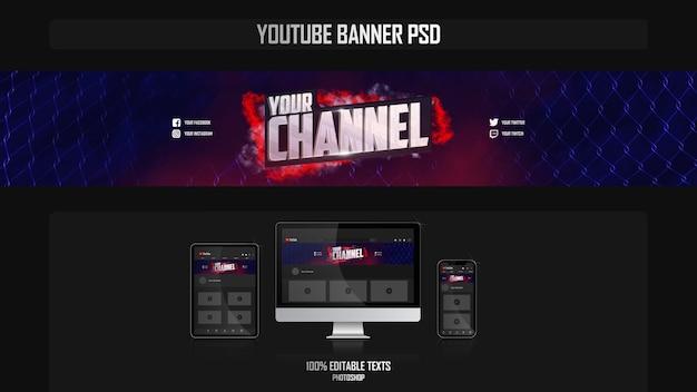 Bannière pour chaîne youtube avec concept de combat