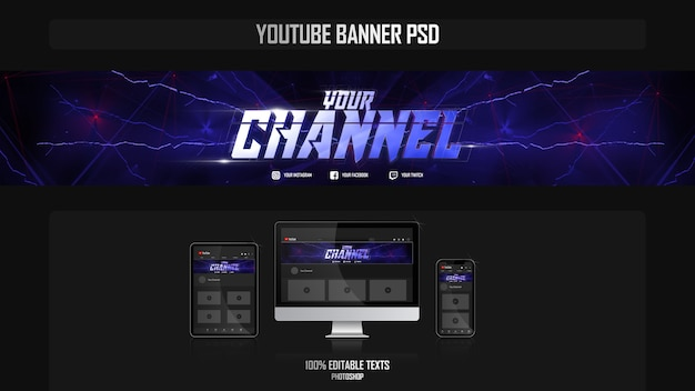 Bannière pour chaîne youtube avec concept gamer