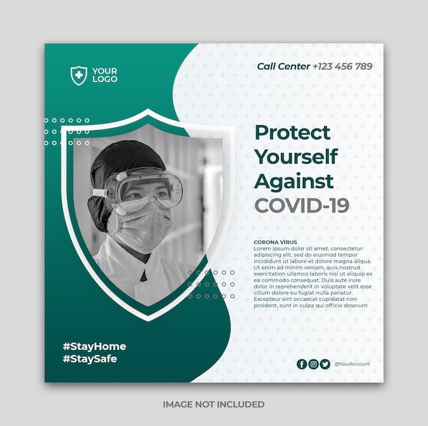 Bannière de prévention des coronavirus ou flyer carré pour le modèle de publication instagram des médias sociaux
