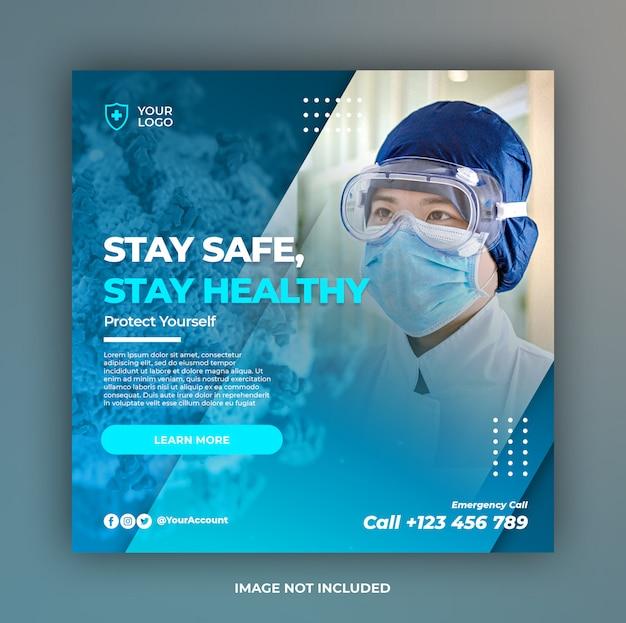 Bannière de prévention des coronavirus ou flyer carré pour le modèle de publication sur les médias sociaux