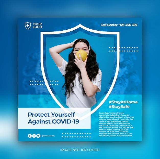 Bannière de prévention du virus corona pour le modèle de publication sur les médias sociaux