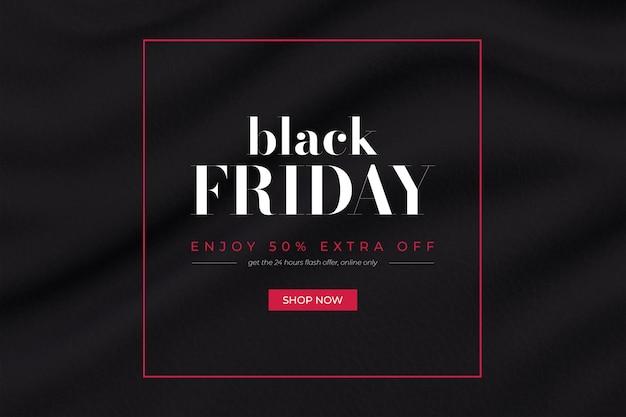Bannière promo vendredi noir avec fond de tissu ondulé