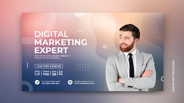 Bannière de promotion du marketing des médias sociaux de l'agence de marketing numérique avec un modèle psd d'arrière-plan moderne