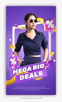 Bannière de promotion de remise de vente colorée de rendu 3d