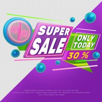 Bannière de promotion de titre de réduction de grande vente au néon 3d