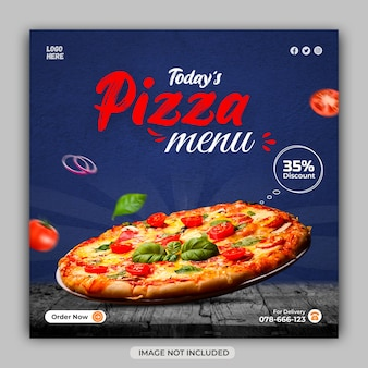 Bannière promotionnelle de médias sociaux de livraison de pizza délicieuse ou modèle d'histoires instagram