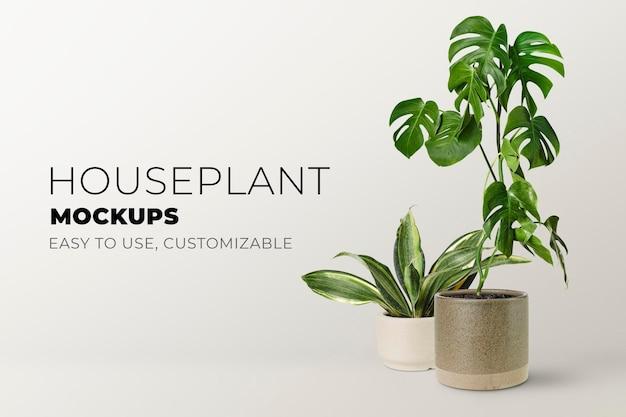 Bannière psd de maquette de plante d'intérieur verte