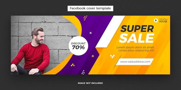 Bannière de publication de couverture facebook super vente dynamique