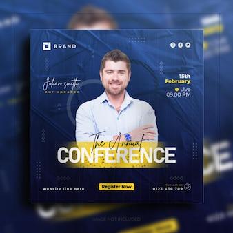Bannière de publication d'instagram de médias sociaux de promotion de webinaire de conférence d'affaires de diffusion en direct