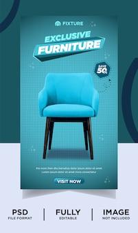 Bannière de publication instagram de produit exclusif de marque de meubles de couleur cyan