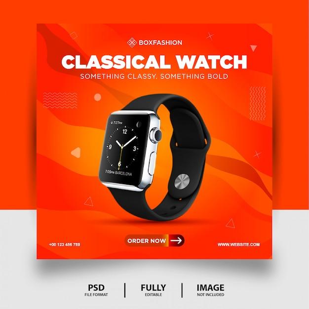 Bannière de publication de médias sociaux de couleur de montre classique de couleur orange