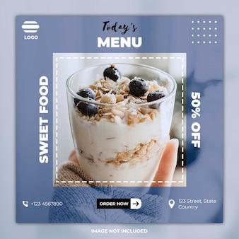 Bannière de publication sur les médias sociaux culinaires