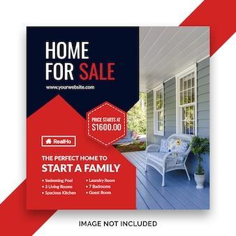 Bannière de publication de médias sociaux de l'immobilier