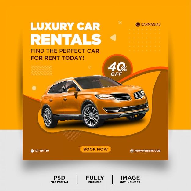 Bannière de publication de médias sociaux de location de voitures de luxe de couleur orange