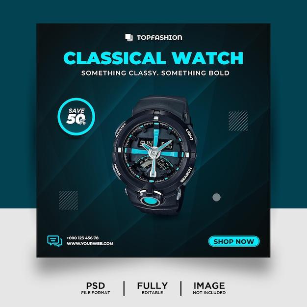 Bannière de publication sur les médias sociaux de la montre classique de couleur cyan