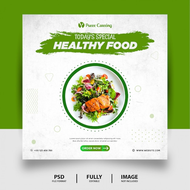 Bannière de publication de médias sociaux de nourriture verte de couleur verte