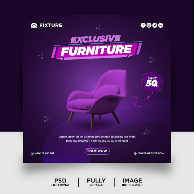 Bannière de publication de médias sociaux de produit exclusif de meubles de couleur foncée parpule
