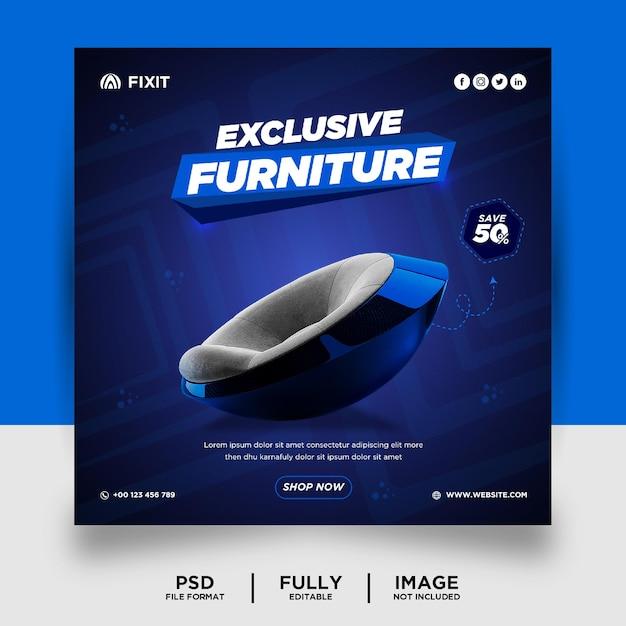 Bannière de publication de médias sociaux de produit de marque de meubles de couleur foncée