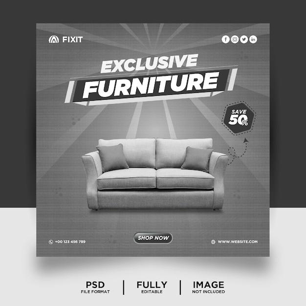 Bannière de publication de médias sociaux de produit de marque de meubles de couleur gris clair