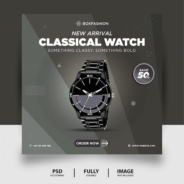 Bannière de publication de médias sociaux de produit de marque de montre classique de couleur grise