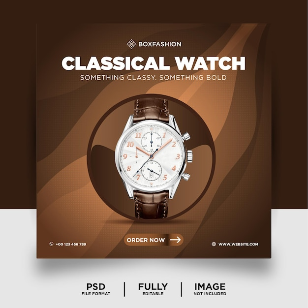 Bannière de publication de médias sociaux de produit de marque de montre de couleur chocolat
