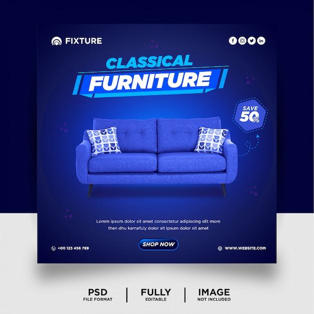 Bannière de publication de médias sociaux de produit de meubles exclusif de couleur bleue