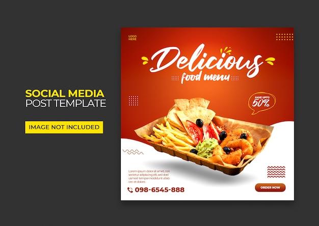 Bannière de publication de médias sociaux de restaurant psd premium