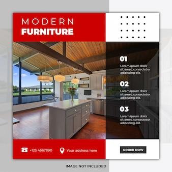 Bannière de publication sur les réseaux sociaux de meubles minimalistes