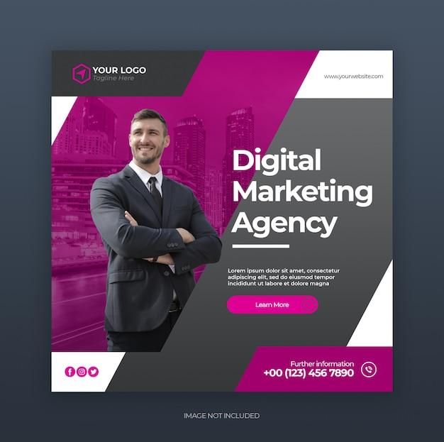 Bannière publicitaire ou dépliant carré sur le marketing des entreprises créatives