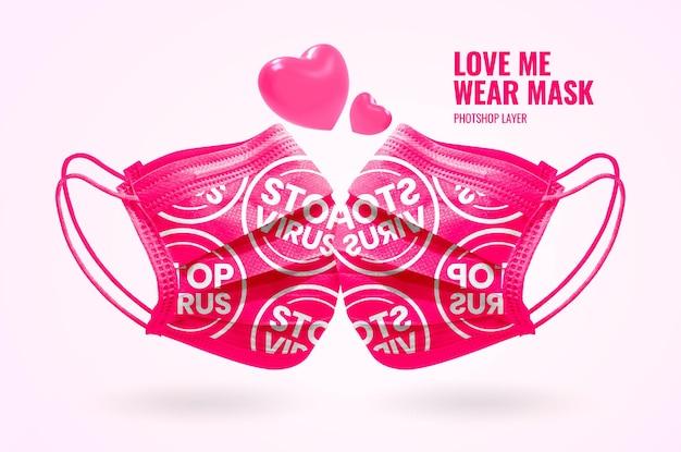 Bannière publicitaire de masque d'usure de la saint-valentin