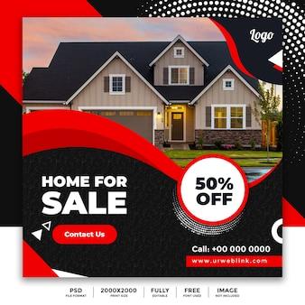 Bannière publicitaire sur les médias sociaux et l'immobilier
