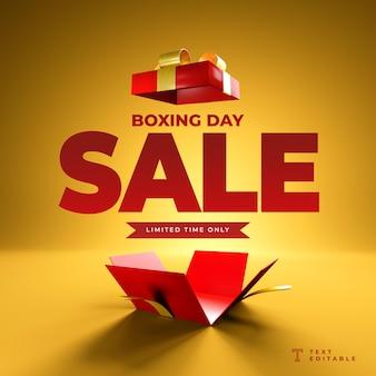 Bannière réaliste boxing day sale rendu 3d