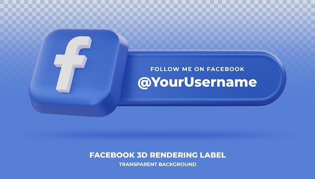 Bannière de rendu 3d facebook isolée