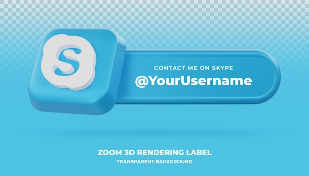 Bannière de rendu 3d skype isolée