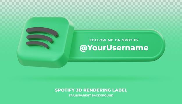 Bannière de rendu 3d spotify isolée