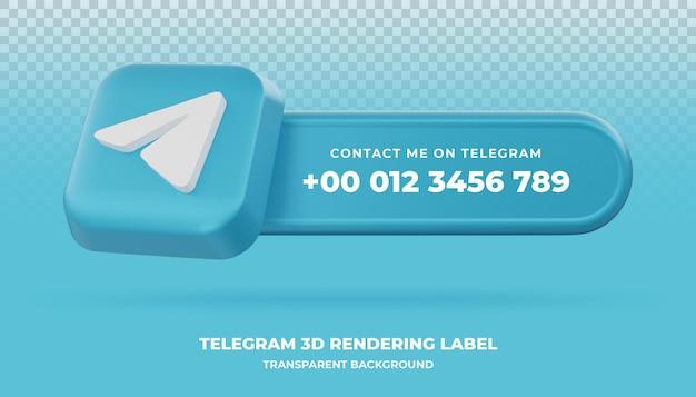 Bannière de rendu 3d télégramme isolé