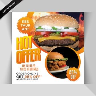 Bannière de restaurant ou poste pour instagram