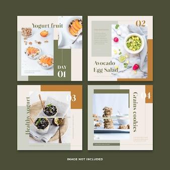 Bannière de restaurants d'aliments sains collection de modèles de publication de médias sociaux