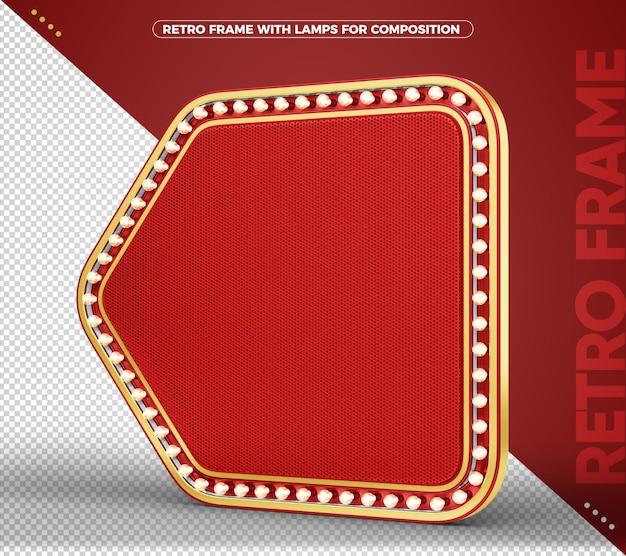 Bannière rétro vintage signe rouge et or