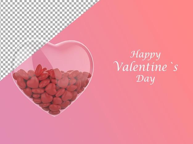 Bannière de la saint-valentin composée de coeurs en verre