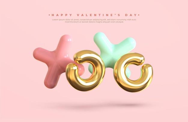 Bannière de la saint-valentin heureuse avec lettrage 3d du symbole xoxo