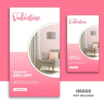Bannière de la saint-valentin social media post instagram furniture pink discount