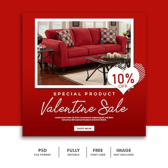 Bannière de la saint-valentin social media post instagram furniture red sale