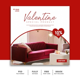 Bannière de la saint-valentin social media post instagram furniture red special